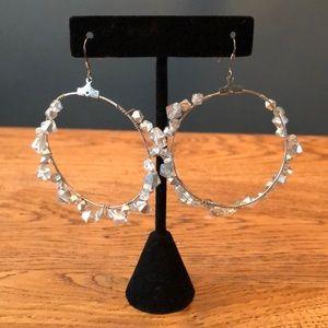 Pretty Large Hoop Earrings Crystals Beaded